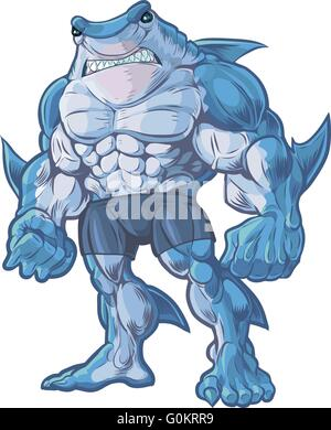 Vector cartoon clip art illustration of a muscular, tough, and mean looking anthropomorphic half shark, half man - Stock Photo