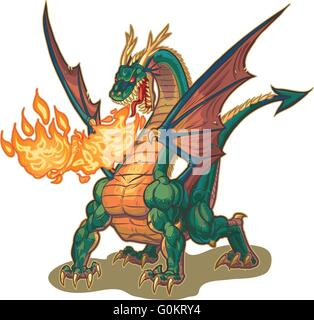 Vector cartoon clip art illustration of a muscular dragon mascot breathing fire with wings spread. - Stock Photo