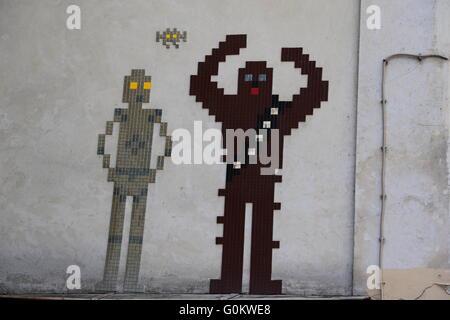Street Art in Paris of Chewbacca and C6PO - Stock Photo