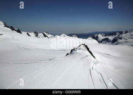 snow fields on franz josef glacier south island new zealand - Stock Photo