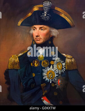 Admiral Nelson. Portrait of Rear-Admiral Sir Horatio Nelson (1758-1805) by Lemuel Francis Abbot, oil on canvas, - Stock Photo
