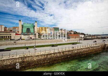 Dique de Gamazo dry dock and Palacio de Festivales. Santander Bay, Cantabria, Spain Europe - Stock Photo
