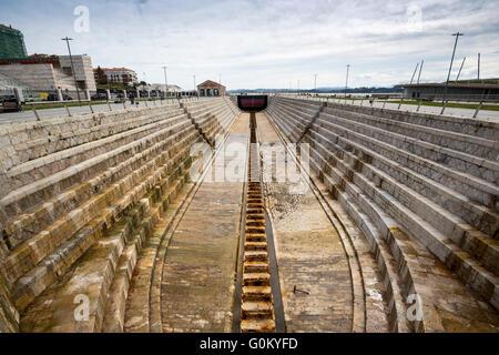 Dique de Gamazo dry dock. Santander Bay, Cantabria, Spain Europe - Stock Photo