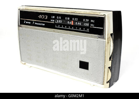 Old russian radio isolated on white background - Stock Photo