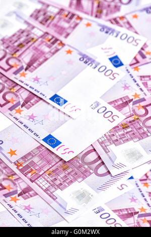 500 Euro bills banknotes. Five hundred notes. European Currency. Money Background - Stock Photo