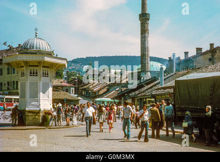 Old quarter of Sarajevo, Bosnia & Herzegovina, in 1974, before the Bosnian War - Stock Photo