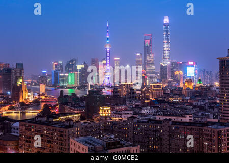 Elevated  view of Shanghai skyline at night. - Stock Photo