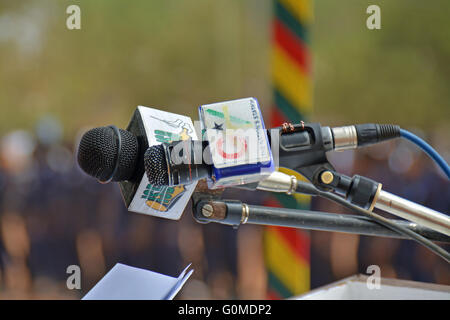 Microphones - ready for broadcast - Stock Photo