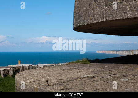 German World War Two fortifications on the cliffs at Fécamp in Normandy, France, part of Hitler's Atlantic Wall - Stock Photo