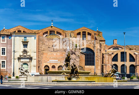 Fontana delle Naiadi and Santa Maria degli Angeli e dei Martiri Basilica in Rome - Stock Photo
