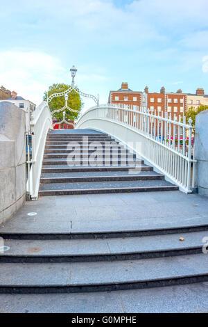 View of Hapenny bridge in Dublin, Ireland - Stock Photo
