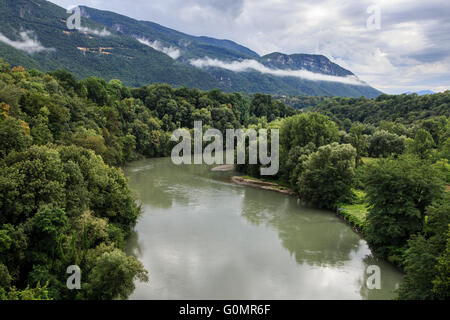 River Isère and the Vercors Massif near Vinay, Isère, France - Stock Photo