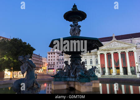 National Theatre of Dona Maria II in Lisbon in Portugal - Stock Photo