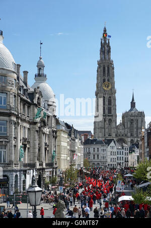 Labor day Labour Day international Workers' Day 1 May Antwerp Belgium - Stock Photo