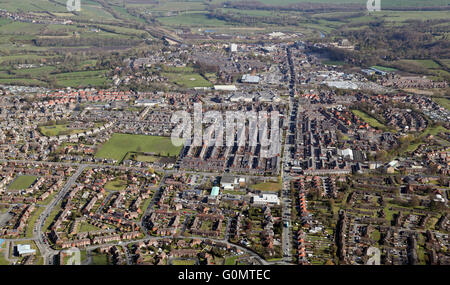 aerial view of Bishop Auckland town, County Durham, UK - Stock Photo