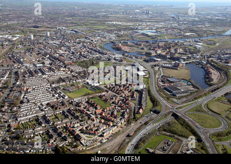 aerial view of Stockton-on-Tees with the A66 & River Tees prominent, UK - Stock Photo