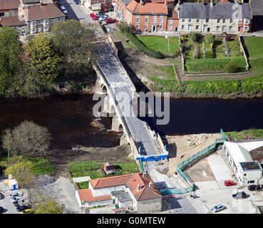 aerial view of the badly damaged A659 road bridge through Tadcaster in Yorkshire over the River Wharf after flooding, - Stock Photo
