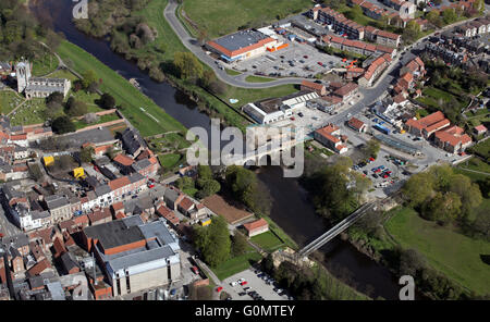 aerial view of Tadcaster town centre, West Yorkshire, UK - Stock Photo
