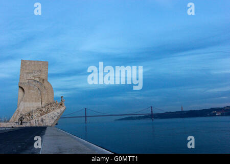 Monument to the Discoveries in Belem in Portugal - Stock Photo