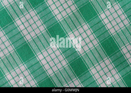 Plaid in Green and White - Stock Photo