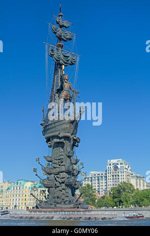 Peter the Great Statue in Moscow, Russia - Stock Photo