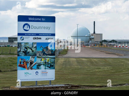 28/04/2016, The main entrance to the former Dounreay Nuclear Power Station, Reay, Caithness, Scotland UK. - Stock Photo