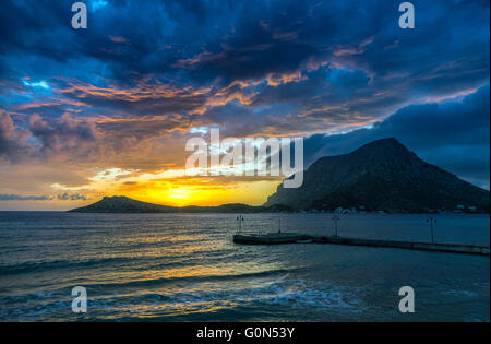 Spectacular sunset with Telendos Island from Kalymnos