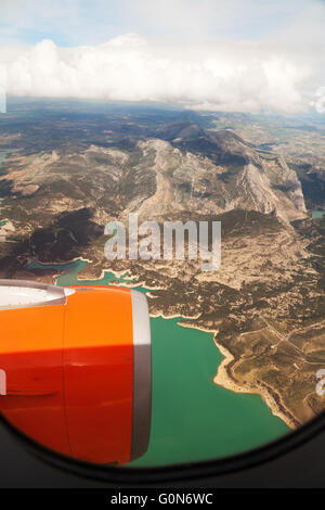 Easyjet airplane engine in flight over Spain on the Southend to Malaga route, Spain, Europe - Stock Photo