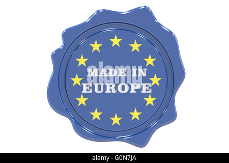 made in Europe seal, stamp. 3D rendering - Stock Photo