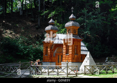 Slovenia, Vrsic Pass. The Russian chapel was built by the Russian prisoners during the Great War. They were employed - Stock Photo