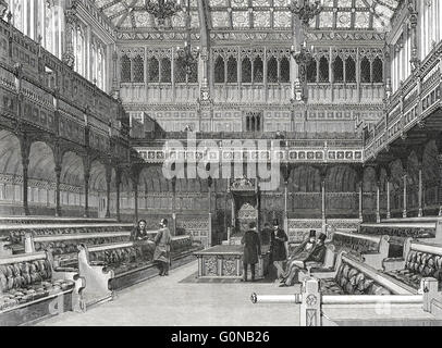 Interior of The House of Commons in the 19th Century - Stock Photo