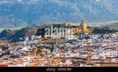 Antequera, Malaga Province, Andalusia, southern Spain.  View across the town from the Vera Cruz hill to La Alcazaba - Stock Photo