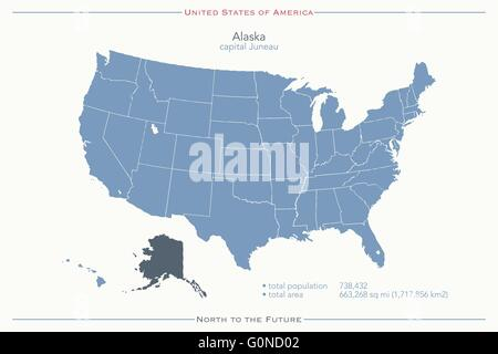 US State Alaska Political Map with capital Juneau national