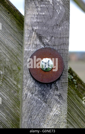 cross head bolt and rusty washer on wooden post banister - Stock Photo