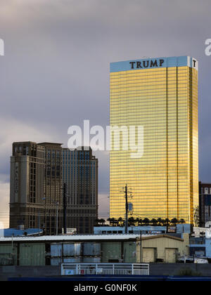 The Trump Tower in Las Vegas, Nevada. The Trump Tower is a prominent, golden landmark owned by famous businessman - Stock Photo