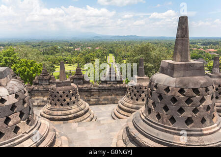 View on stupas and landscape in Borobudur temple - Stock Photo