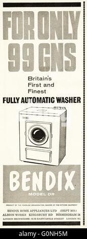 Original old vintage 1960s magazine advert dated 1962. Advertisement advertising Bendix Model DR Britain's first - Stock Photo