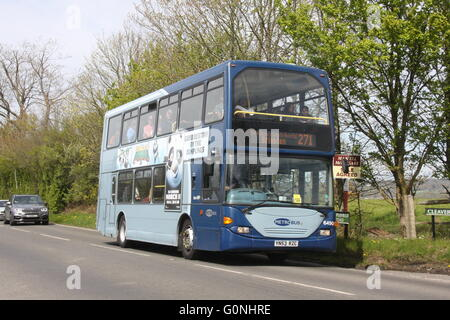 A METROBUS DOUBLE DECK BUS ON SERVICE 271 TRAVELLING ALONG A COUNTRY ROAD - Stock Photo