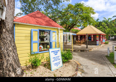 Colorful pottery souvenir shop near the port terminal, St John's, capital city, in the north of Antigua and Barbuda, - Stock Photo