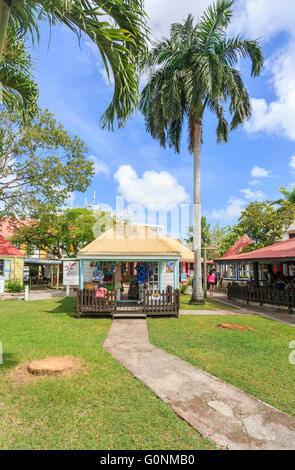 Souvenir shops near the port terminal, St John's, capital city, in the north of Antigua and Barbuda, West Indies - Stock Photo