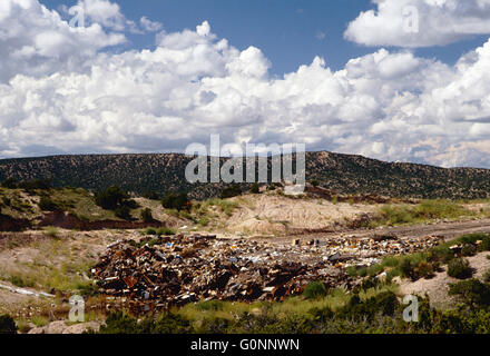 Landfill & town dump near Truchas; New Mexico; USA - Stock Photo