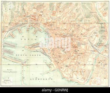 ITALY: Genova Genoa, 1926 vintage map - Stock Photo