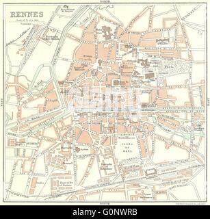 ILLE-VILAINE: Rennes, 1923 vintage map - Stock Photo