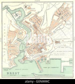 FINISTÈRE: Brest, 1923 vintage map - Stock Photo