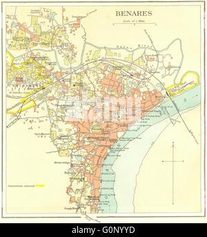 BRITISH INDIA Benares Varanasi city planGanges temples Stock