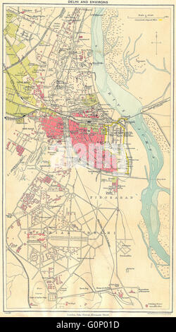 BRITISH INDIA: Delhi & environs plan. Showing cantonment & railways, 1924 map - Stock Photo