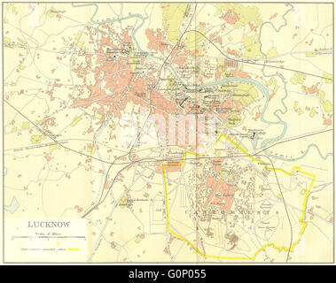 BRITISH INDIA: Lucknow city plan showing cantonment, 1924 vintage map - Stock Photo