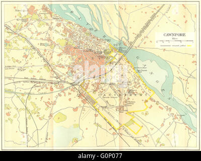 BRITISH INDIA: Cawnpore (Kanpur) city plan showing cantonment, 1924 old map - Stock Photo
