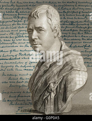 Portrait and manuscript of the novel Kenilworth by Sir Walter Scott, 1st Baronet of Abbotsford, 1771 - 1832, Scottish - Stock Photo