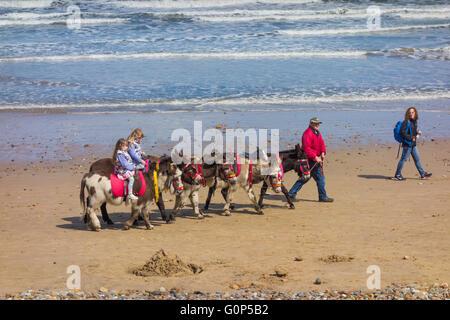 Children  having donkey rides on Saltburn Beach - Stock Photo